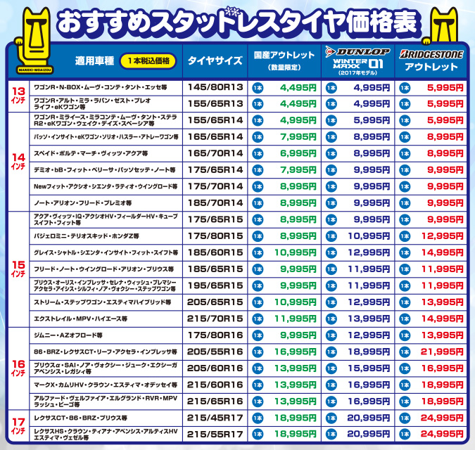 2017_おすすめスタッドレスタイヤ価格表