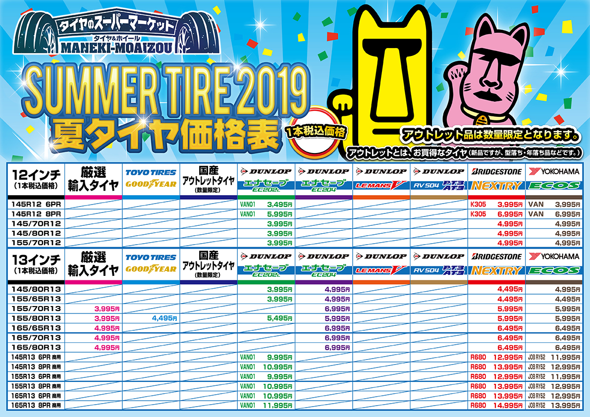 2019年夏タイヤ価格表(12インチ~13インチ)